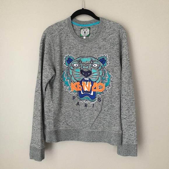 6809cda0c Kenzo Sweaters | Jungle Gray Blue And Orange Tiger Sweater | Poshmark
